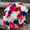 red white blue wedding bouquet real touch roses calla lilies gems brooches