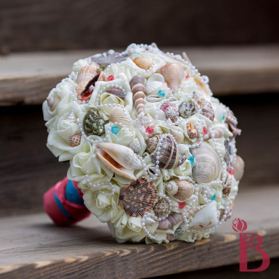 coral seashell bouquet turquoise malibu beach wedding