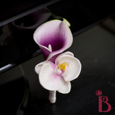 purple white real touch orchid calla lily boutonniere wedding prom