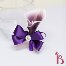 real touch purple calla lily natural feel plum eggplant bow