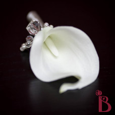 real touch calla lily wedding prom button hole boutonniere groom