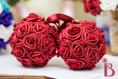 red rose flower ball pomander for flower girl wedding