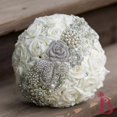brooch strip broach over silk bouquet foam ivory roses