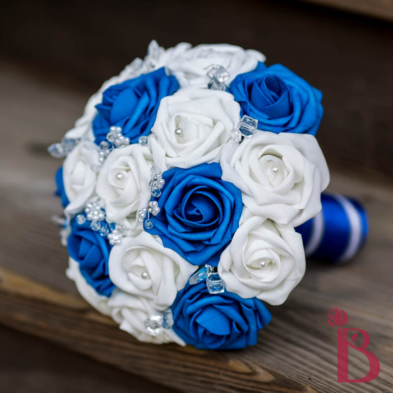 Royal Blue Silver And White Wedding Bouquets : Royal blue white crystals bouquet more colors the