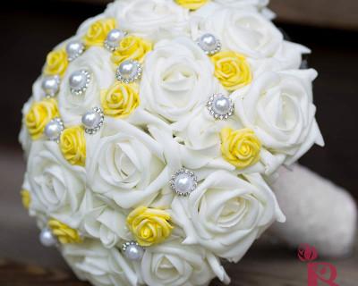silk wedding bouquet yellow cream pearl chic vintage bouquets flowers
