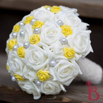 silk wedding bouquet yellow cream pearl chic vintage bouquets flowers