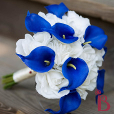 cream royal blue real touch wedding bouquet silk flowers