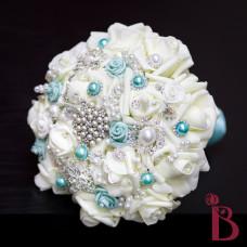 aqua tiffany blue brooch wedding bouquet broach pearls