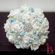 brooch bridesmaid small bridal wedding bouquet aqua roses
