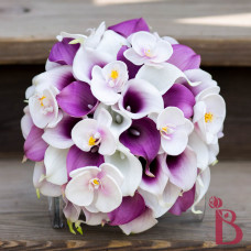 purple calla orchid wedding bouquet real touch silk flowers