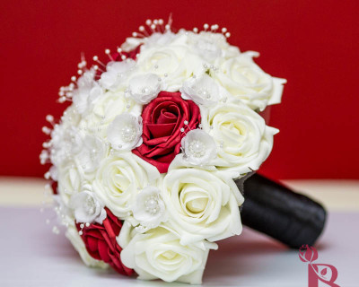 silk wedding bouquet red black cream ivory pearls