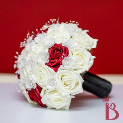 silk wedding bouquet red black cream ivory pearls