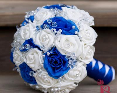 royal blue white silver wedding bouquet silk roses flowers