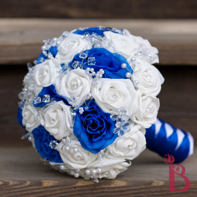 royal blue white silver wedding bouquet silk roses flowers