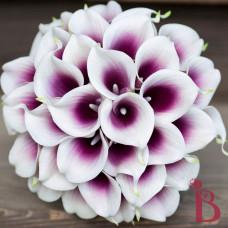 wedding bouquet silk real touch calla lilies purple center