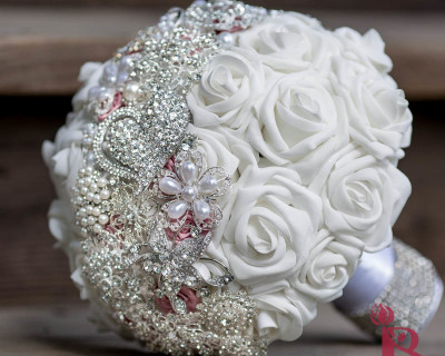 silver blush pink brooch bouquet pearl brooches