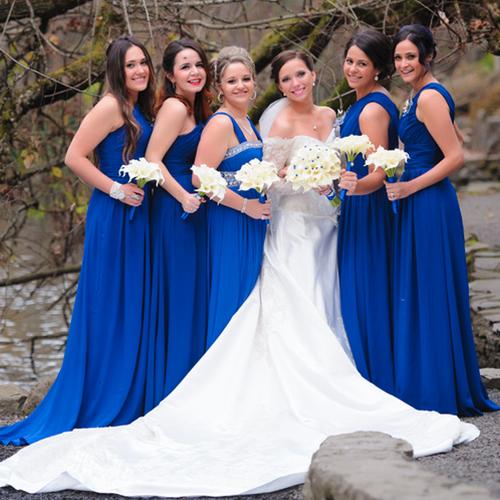 royal blue bridesmaid bouquets silk artificial