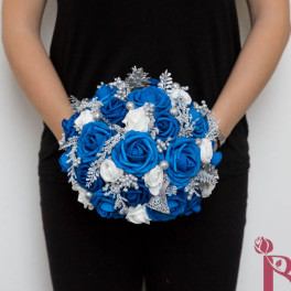 royal blue winter wonderland bouquet silver glitter large bridal