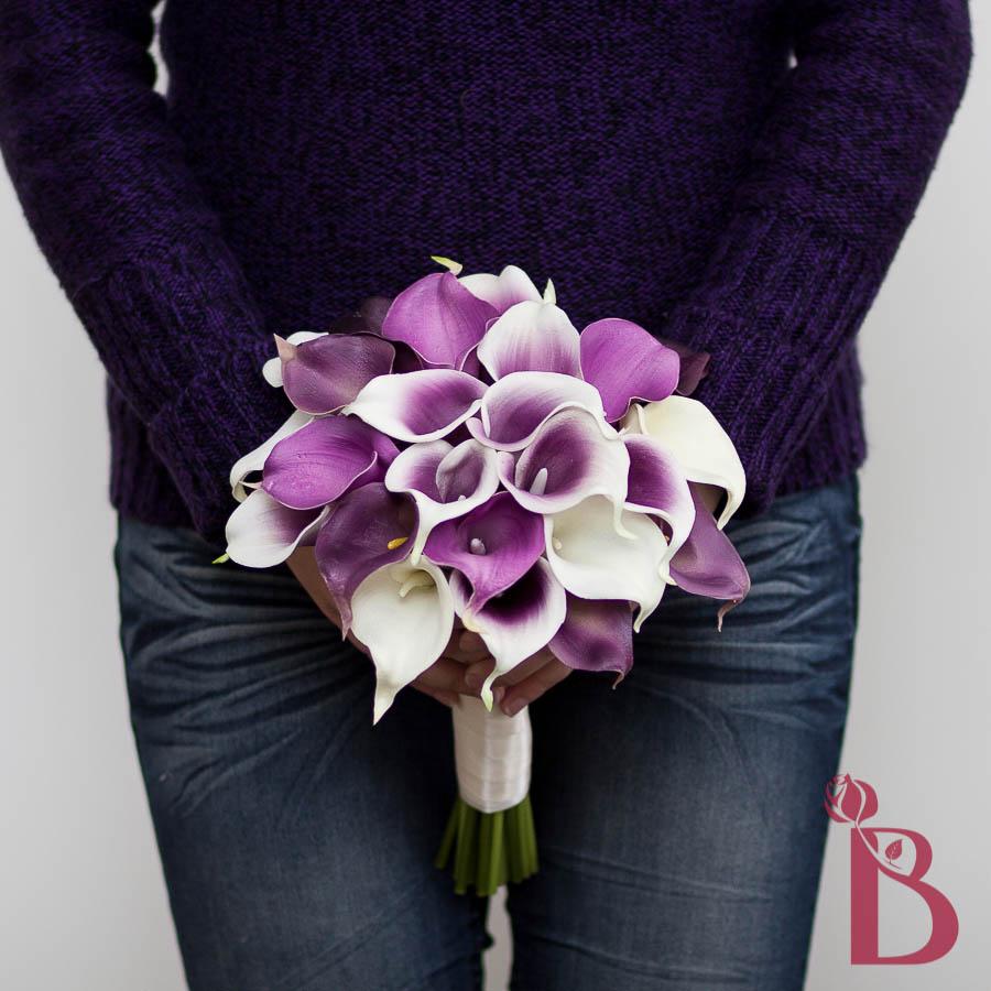 purple calla bridal bouquet picasso lavender purple middle real touch