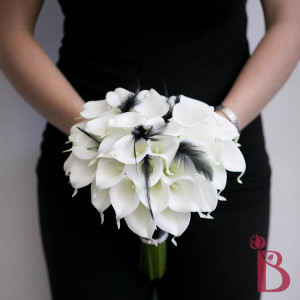 white calla black feathers wedding bridal real touch bouquet