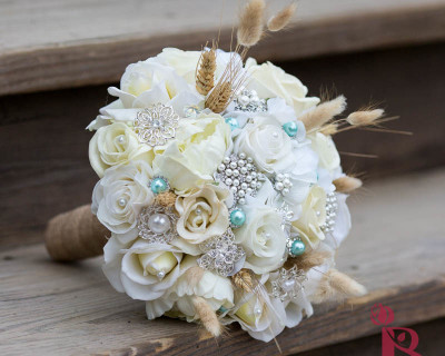 rustic ivory bouquet wheat burlap and brooches aqua gems