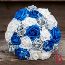 silk wedding bouquet royal blue silver glitter white crystals