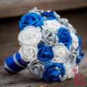 royal blue silver wedding bouquet glitter crystals bridal silk fake flowers