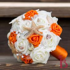 shells starfish wedding bouquet orange ivory roses