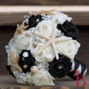 seashell wedding bouquet starfish black ivory cream roses crystals bling elegant goth