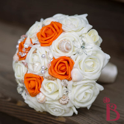 halloween wedding bouquet orange seashell crystals