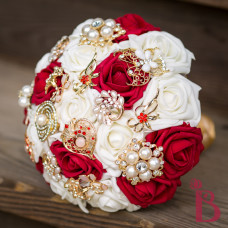 brooch wedding bouquet red gold indian weddings elegant well made quality