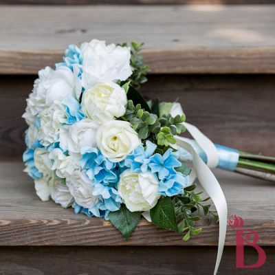 light blue cream ivory cinderella bouquet real touch roses