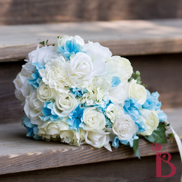 Inspired Light Blue Cream Real Touch Bouquet The Bridal Flower