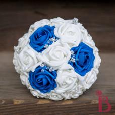 royal blue white crystals bridesmaid wedding bouquet