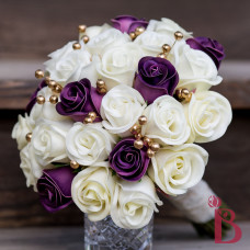purple gold ivory romantic vintage wedding bouquet real touch rose buds pearls
