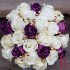 purple gold wedding real touch bouquet romantic vintage rustic lace gold