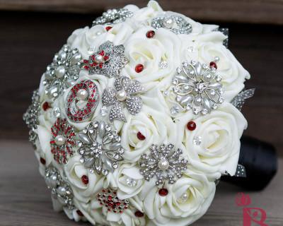 cream ivory red black brooch bouquet elegant heirloom