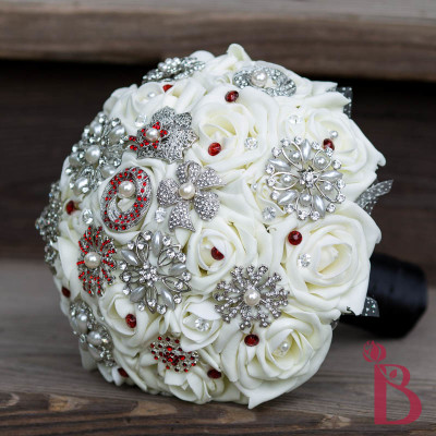 cream ivory red black brooch bouquet elegant heirloom