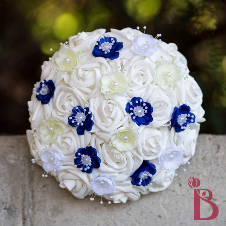 Wedding Bouquet Flower Combinations : Royal blue and yellow pearl wedding bouquet the bridal