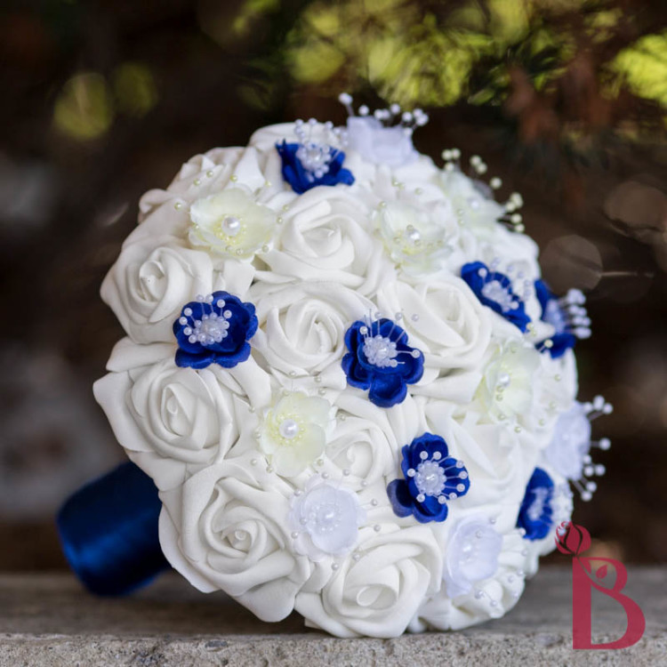 We Also Offer The Matching Wooden Rose White And Navy Blue Bridesmaid Bouquet You Can Add It Into Your Order If Wish