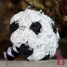 black white silk wedding bouquet crystals pearls bling artificial fake flowers