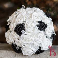 fake flower bouquet quality artificial silk black white wedding