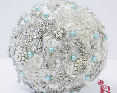 brooch bouquet tiffany aqua blue pearls butterflies silver white