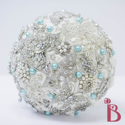 brooch bouquet tiffany aqua blue pearls butterflies silver white