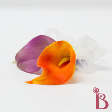double calla lily corsage purple orange