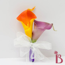 orange purple real touch calla lily with ribbons