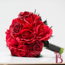red and black feather wedding bouquet real touch roses