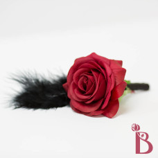 red rose black feather boutonniere goth wedding