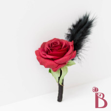wedding prom boutonniere rose feather goth inspired punk bold