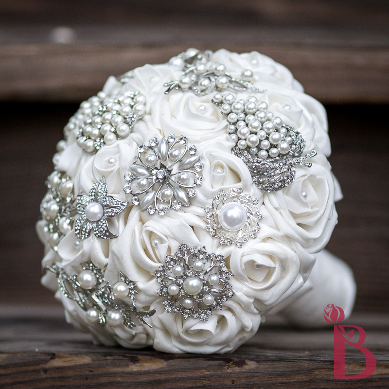 Silk Wedding Flowers In Maryland : White sheen pearl brooch bouquet md the bridal flower